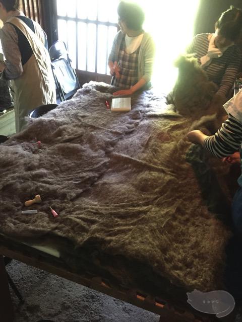羊毛を広げる